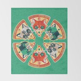 Pizza Slice Cats  Throw Blanket