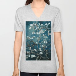 Van Gogh Almond Blossoms : Dark Teal Unisex V-Neck