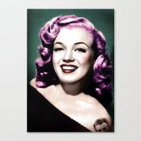 rockabilly Canvas Prints featuring Rockabilly Marilyn by Tamsin Lucie