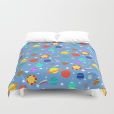 planets and stars Duvet Cover