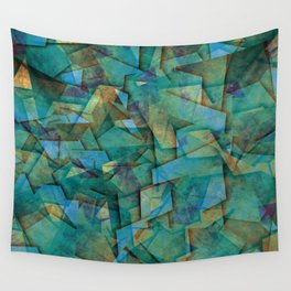 Fragments In blue - Abstract, fragmented art in blue Wall Tapestry