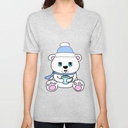 Polar Bear Drinking Hot Chocolate Unisex V-Neck
