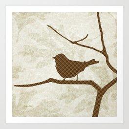 Brown Bird Silhouette Art Print