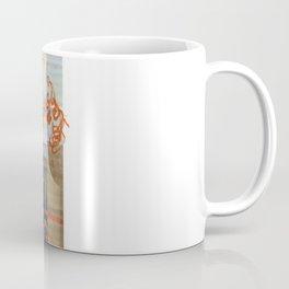 scan of orange paint marker and staples on digital print  Coffee Mug