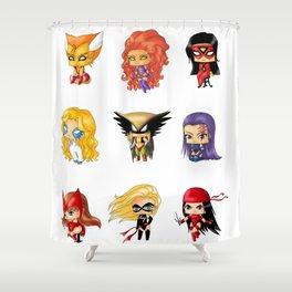 Chibi Heroines Set 3 Shower Curtain