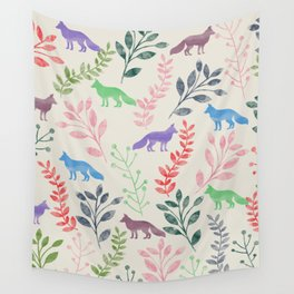 Watercolor Floral & Fox III Wall Tapestry