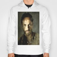 rick grimes Hoodies featuring Rick Grimes The Walking Dead Painting by TARA SCHLAYER