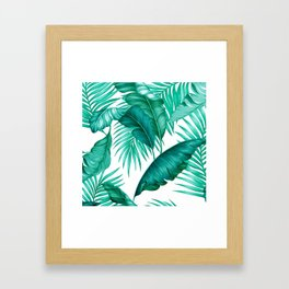 HAWAIIAN GARDEN TROPICAL LEAVES | turquoise white Framed Art Print