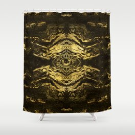 All Seeing eye golden texture on aged wood Shower Curtain