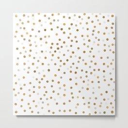 Girly Gold Dots Confetti White Design Metal Print