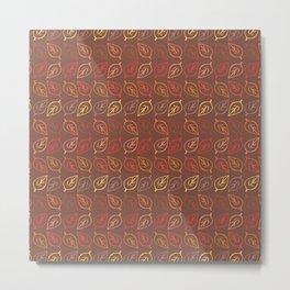 Fall Leaves Pattern in Warm Colors Metal Print