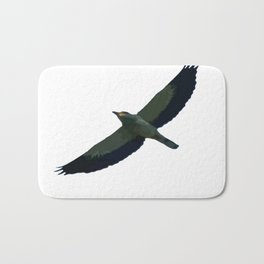 European Roller In Flight Silhouette Vector Bath Mat