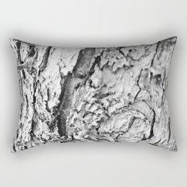 Tree Bark Black and White Rectangular Pillow