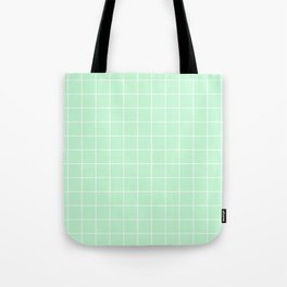 Mint Green with White Grid Tote Bag
