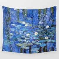 monet Wall Tapestries featuring water lilies a la Monet by Jo.PinX