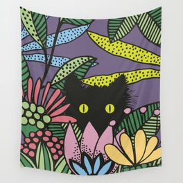Cat in the Garden playing Hide and Seek Wall Tapestry