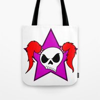 rock n roll Tote Bags featuring Rock-N-Roll Brat  by Los Espada Art