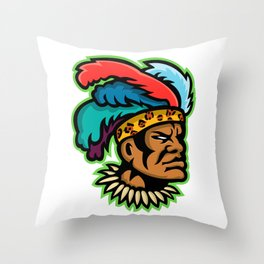 Zulu Warrior Head Mascot Throw Pillow