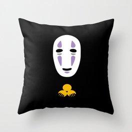 No Face Giving Gold Throw Pillow