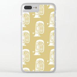 Tuba Pattern Gold Clear iPhone Case