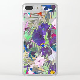 Tropical pink violet purple watercolor floral Clear iPhone Case