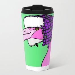 Flamingo in a hat Metal Travel Mug