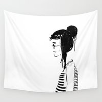 hippy Wall Tapestries featuring Hippy girl by SolaKida