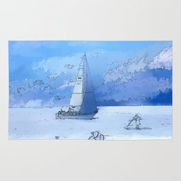 Sailing the Calm Blue Waters  - Sailboating Rug