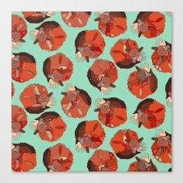 curled fox polka mint Canvas Print