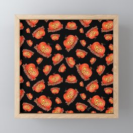 Jack-o-Lanterns with Black background Framed Mini Art Print