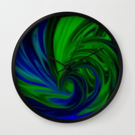 Blue and Green Wave Wall Clock