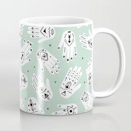 Indian summer bohemian hamsa hand of fatima pattern mint Coffee Mug