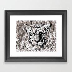 Tiger BW Framed Art Print
