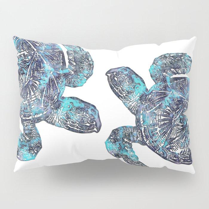 Sea Turtle Blue Watercolor Art Pillow Sham