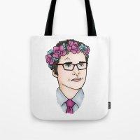 wesley bird Tote Bags featuring Flower Crown James Wesley by HayPaige