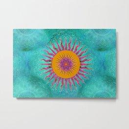 Magic Sun Mandala In Bold Colors Metal Print