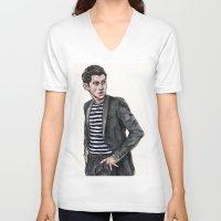 alex turner V-neck T-shirts featuring Alex Turner  by vooce & kat