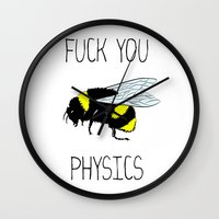 physics Wall Clocks featuring Physics sucks by Babatunde993