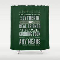 slytherin Shower Curtains featuring Slytherin by Dorothy Leigh