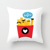 french Throw Pillows featuring French Fries by Reg Silva / Wedgienet.net