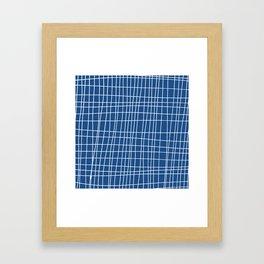 Hand Drawn Grid in Classic Blue Framed Art Print