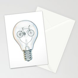 Light Bicycle Bulb Stationery Cards