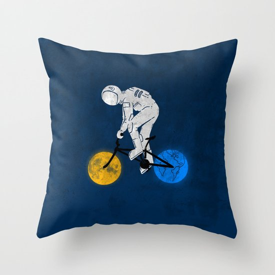 Astronaut on bicycle Throw Pillow by BarmalisiRTB Society6