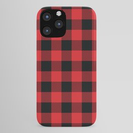 Buffalo Plaid Christmas Red and Black Check iPhone Case