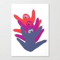 sloths Canvas Prints featuring Color sloths by Darish
