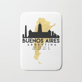 BUENOS AIRES ARGENTINA SILHOUETTE SKYLINE MAP ART Bath Mat