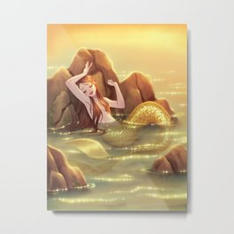 Mermaid in the Shallows Metal Print