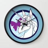the last unicorn Wall Clocks featuring Last Unicorn by AriesNamarie