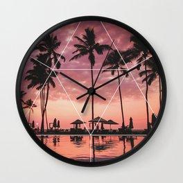 SUNSET PALMS- Geometric Photography Wall Clock