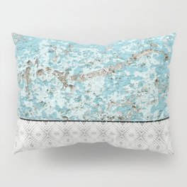 Urban Grunge Turquoise Cement Snake Skin Tile Pillow Sham